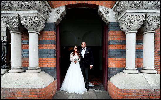 Jamie Heaslip pictured with his bride Sheena O'Buachalla outside the Newman University Church on St Stephens Green. Pic Steve Humphreys 13th August 2016