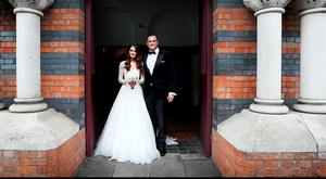 Jamie Heaslip pictured with his bride Sheena O'Buachalla outside the Newman University Church on St Stephens Green. Picture: Steve Humphreys