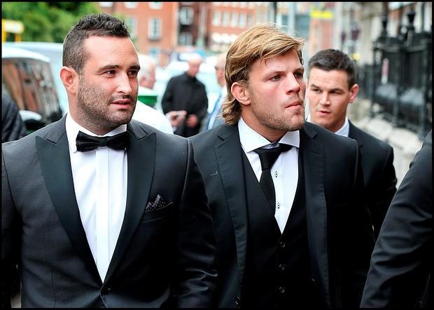 Dave Kearney, Jordi Murphy and Johnny Sexton attending Jamie Heaslip and Sheena O'Buachalla's wedding outside the Newman University Church on St Stephens Green. Pic Steve Humphreys 13th August 2016