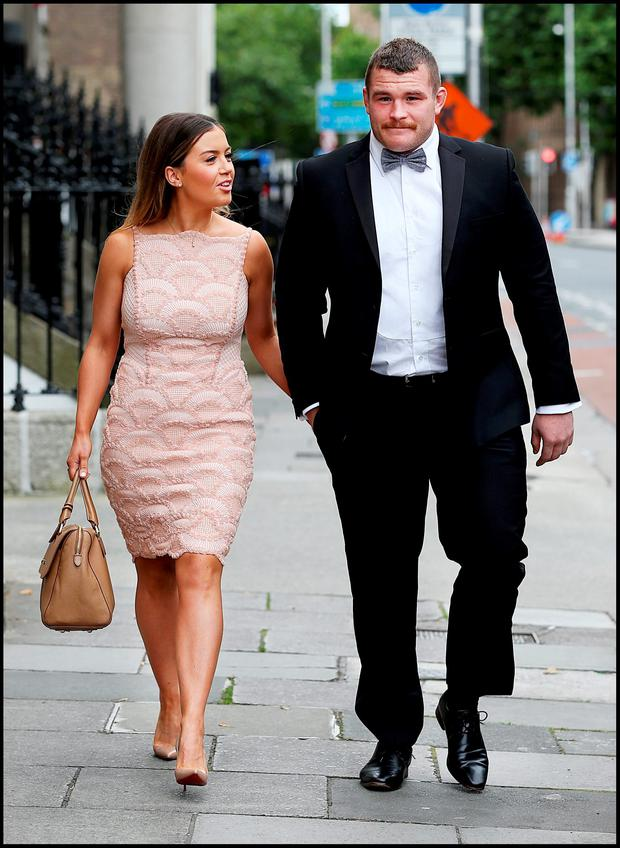Sinead Corcoran and Jack McGrath attending Jamie Heaslip and Sheena O'Buachalla's wedding outside the Newman University Church on St Stephens Green. Pic Steve Humphreys 13th August 2016