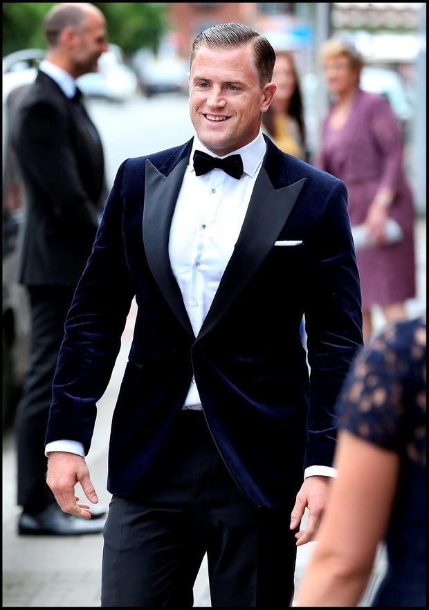 Jamie Heaslip arriving for his and bride Sheena O'Buachalla's wedding outside the Newman University Church on St Stephens Green. Pic Steve Humphreys 13th August 2016