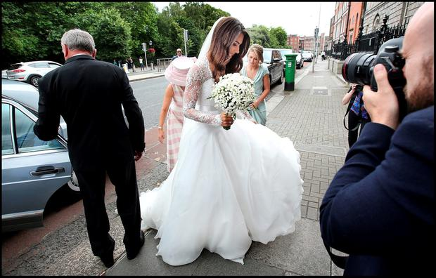 Here comes the bride....... Jamie Heaslip and Sheena O'Buachalla's wedding outside the Newman University Church on St Stephens Green. Pic Steve Humphreys 13th August 2016