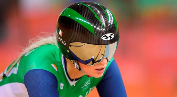 Shannon McCurley of Ireland following her fourth place finish in the repechage of the Women's Keirin at the Rio Olympic Velodrome, Barra da Tijuca, during the 2016 Rio Summer Olympic Games in Rio de Janeiro, Brazil. Photo by Ramsey Cardy/Sportsfile
