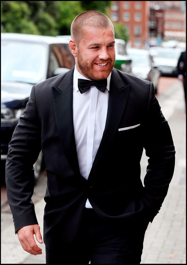 Leinster's Sean O'Brien attending Jamie Heaslip and Sheena O'Buachalla's wedding outside the Newman University Church on St Stephens Green. Pic Steve Humphreys 13th August 2016