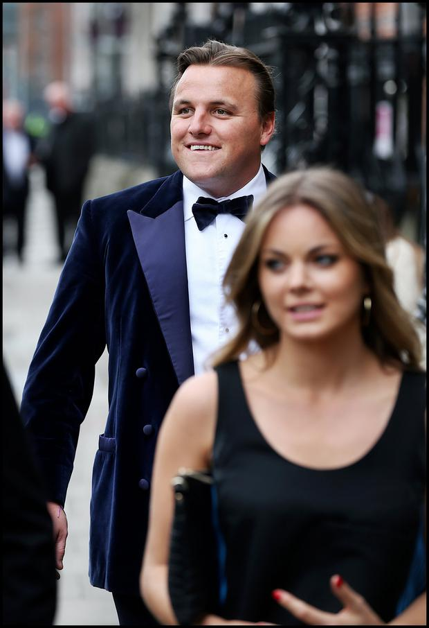 Damien O'Donoghue attending Jamie Heaslip and Sheena O'Buachalla's wedding outside the Newman University Church on St Stephens Green. Pic Steve Humphreys 13th August 2016