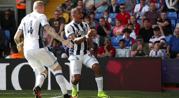 LONDON, ENGLAND - AUGUST 13: Salomon Rondon of West Bromwich Albion celebrates after scoring a goal to make it 0-1during the Premier League match between Crystal Palace and West Bromwich Albion at Selhurst Park on August 13, 2016 in London, England. (Photo by Adam Fradgley - AMA/WBA FC via Getty Images)