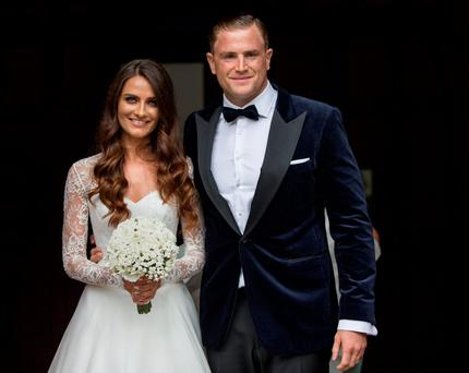 Irish rugby star Jamie Heaslip who got married to his long-term girlfriend Sheena O'Buachalla at the Newman University Church on St Stephens Green. Picture by Fergal Phillips