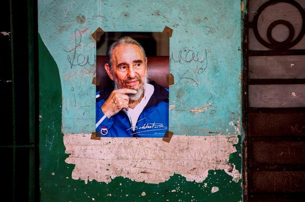 A poster of Cuban Revolution leader Fidel Castro is seen on a wall in Havana, Cuba. Pictuer: AP Photo/Desmond Boylan