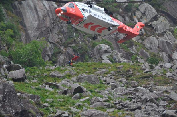 Scene of rescue in Glendalough, Co Wicklow. Picture: Philip Grant
