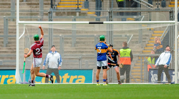 Shane Moloney celebrates after scoring Galway's winning point in last year's All-Ireland semi-final: 'Moloney took a bit longer than most to get his opportunity'. Photo: Tomás Greally/Sportsfile