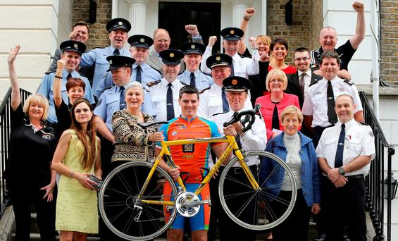 ON YOUR BIKE: Garda Tour de Force Charity Cycle in aid of Pieta House. At the launch, third from left, Romanian Ambassador to Ireland Manuela Breazu, with Garda Sean Trowell and Deputy Garda Comm John Twomey. Photo: Gerry Mooney