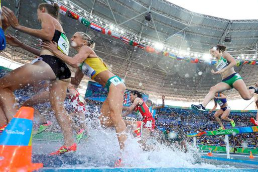 Sara Treacy clears the water jump during her Women's 3000m Steeplechase heat at the Olympic Stadium in Rio. Photo: Reuters