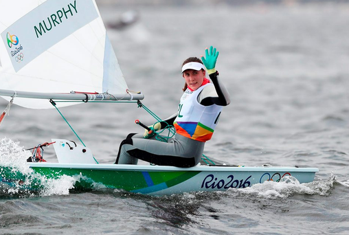 Ireland's Annalise Murphy crosses the line first during the Women's Laser Radial Race 01 held at the Marina da Gloria. Picture date: PA