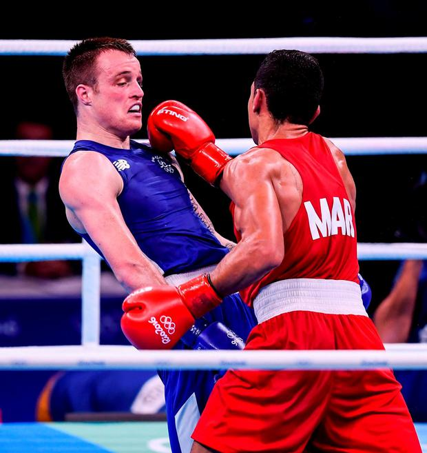 ROLLING WITH THE PUNCHES: Ireland's Steven Donnelly (above) lost his bout against Mohammed Rabii of Morocco during their welterweight preliminary round. Photo by Stephen McCarthy/Sportsfile