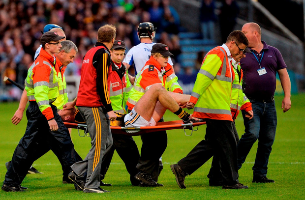 Kilkenny's Michael Fennelly leaves on a stretcher after picking up an injury. Photo by Piaras Ó Mídheach/Sportsfile