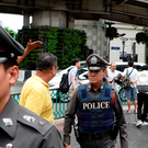 Thai police patrol the area near the Erawan Shrine, the site of a bombing in August 2015, in the centre of Bangkok. Photo: Getty