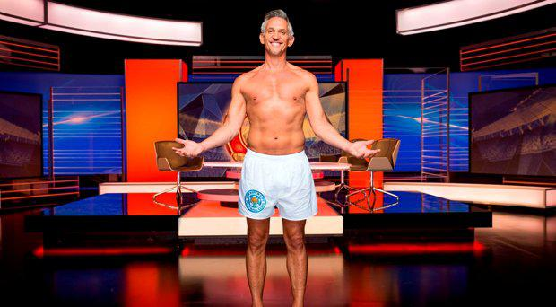 Gary Lineker presenting Match of the Day in his underwear after he vowed to do so if underdogs Leicester City won the Premier League, which they did in May