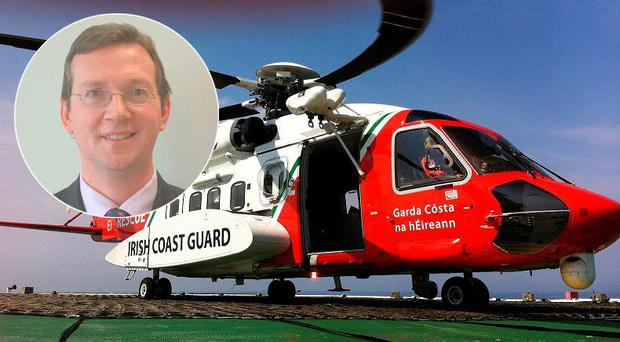 Professor Aongus Curran (51), inset the Coastguard Search and Rescue helicopter