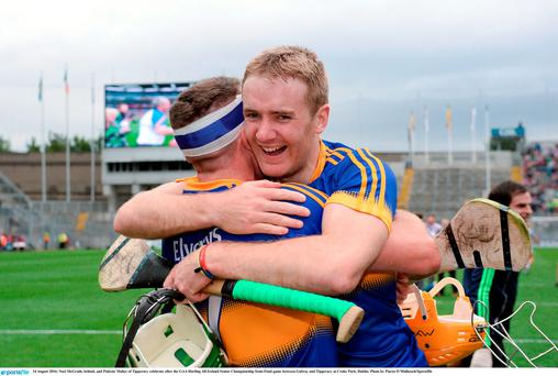 14 August 2016; Noel McGrath, behind, and Pádraic Maher of Tipperary celebrate after the GAA Hurling All-Ireland Senior Championship Semi-Final game between Galway and Tipperary at Croke Park, Dublin. Photo by Piaras Ó Mídheach/Sportsfile