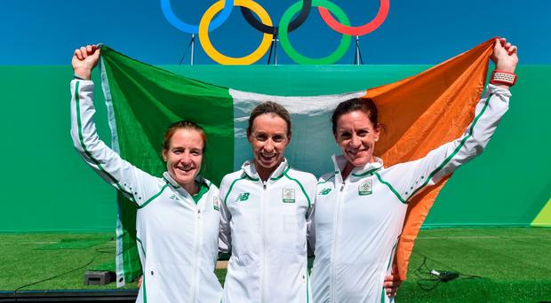14 August 2016; Irish athletes, from left, Fionnuala McCormack , Lizzie Lee, and Breege Connolly after finishing the Women's Marathon during the 2016 Rio Summer Olympic Games in Rio de Janeiro, Brazil. Photo by Stephen McCarthy/Sportsfile