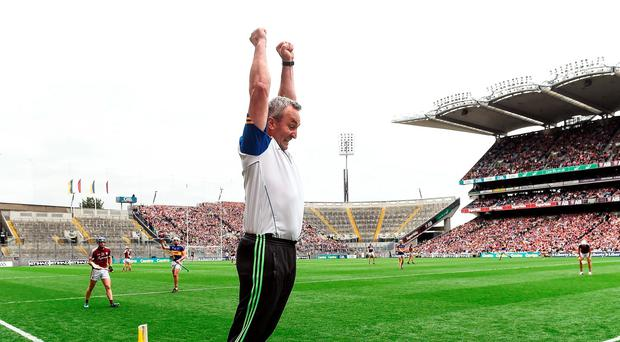14 August 2016; Tipperary manager Michael Ryan celebrates at the end of the GAA Hurling All-Ireland Senior Championship Semi-Final game between Galway and Tipperary at Croke Park, Dublin. Photo by David Maher/Sportsfile