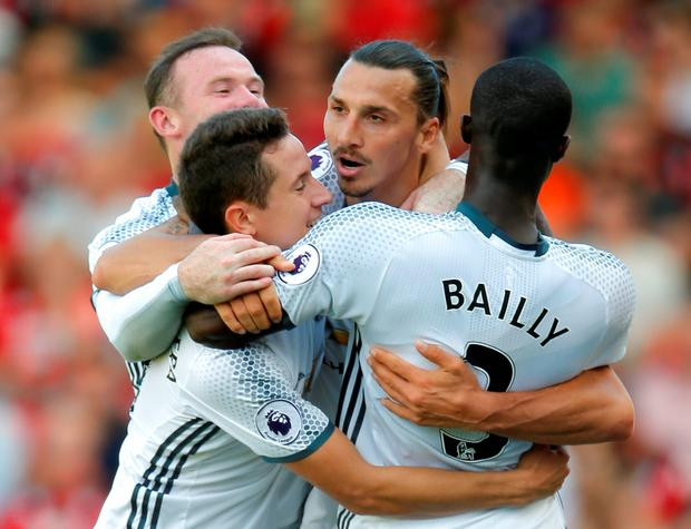 Manchester United's Zlatan Ibrahimovic celebrates scoring their third goal with team mates. Photo: Andrew Couldridge/Action Images via Reuters