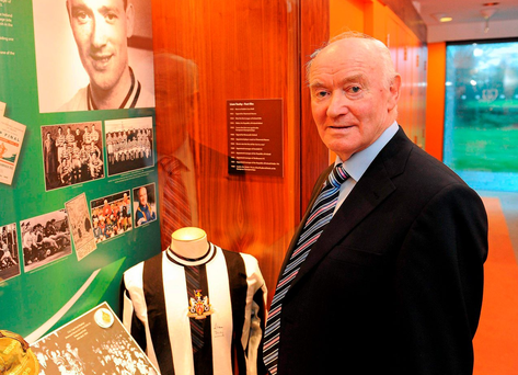 Liam Tuohy at the launch of a display in his honour at the FAI Headquarters in Abbotstown in 2010. Photo: Alan Place / Sportsfile