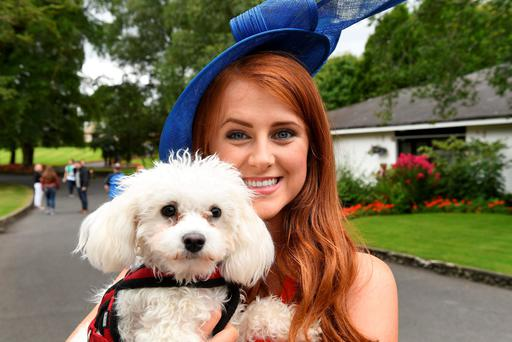 Galway Rose Rosie Burke, who is a vet, met Macy the dog during a visit to the National Stud in Kildare. Photo: Domnick Walsh