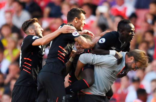 Liverpool's Sadio Mane celebrates scoring their fourth goal with manager Jurgen Klopp, Adam Lallana, Dejan Lovren and teammates Action Images via Reuters / Tony O'Brien