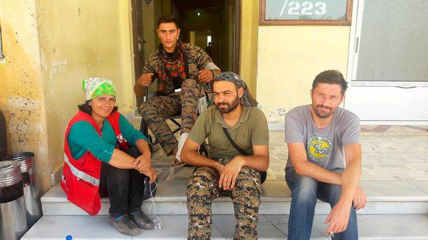 Calvin James with other volunteers in Syria