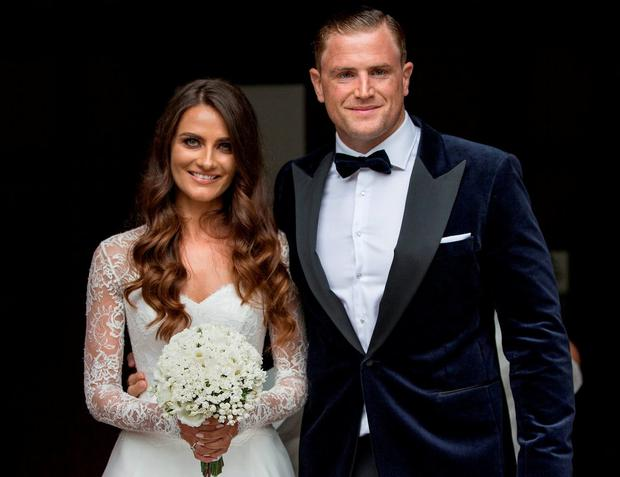 Irish rugby star Jamie Heaslip alongside his new wife Sheena O'Buachalla. Picture by Fergal Phillips