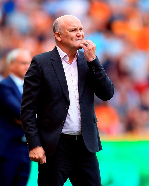 Hull City interim manager Mike Phelan during the Premier League match at the KCOM Stadium, Hull. PA Wire