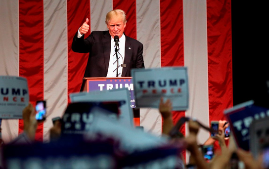 Donald Trump addresses supporters in Fairfield, Connecticut. Photo: John Moore/Getty Images