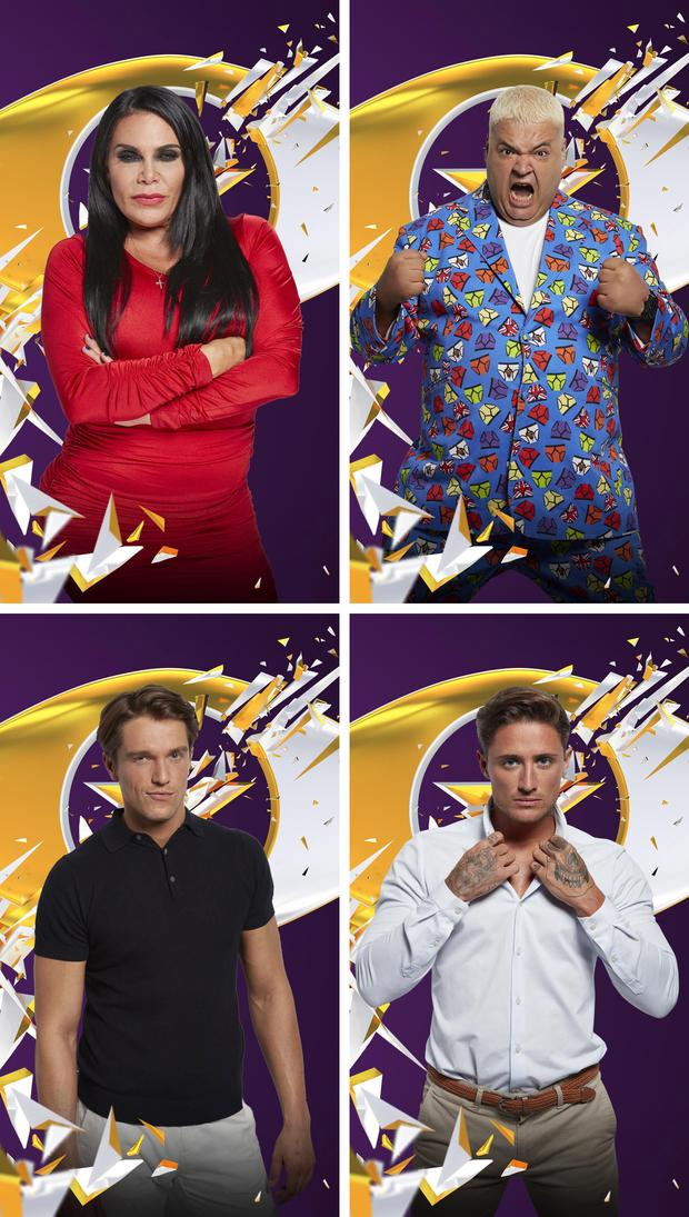Channel 5 undated handout photos of Celebrity Big Brother contestants Renee Graziano, Heavy D (top right), Lewis Bloor (bottom left) and Stephen Bear who are up for eviction this week. PRESS ASSOCIATION Photo. Photo credit: Channel 5/PA Wire