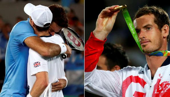 Andy Murray and Juan Martin Del Potro embrace after the match