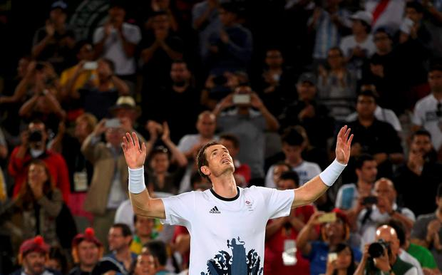 Andy Murray Britain celebrates after winning his match against Juan Martin Del Potro