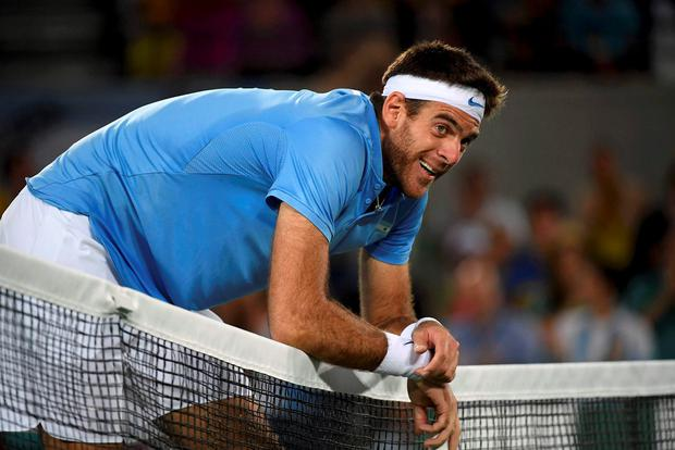 Juan Martin Del Potro of Argentina reacts during match against Andy Murray
