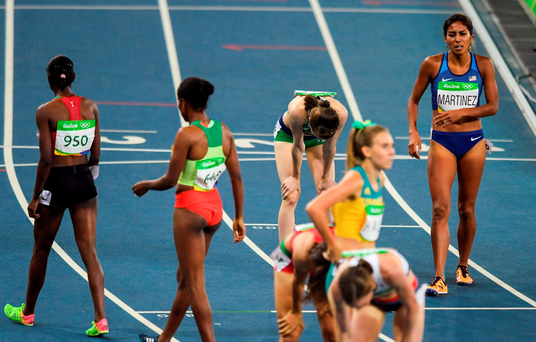 Ciara Mageean of Ireland dejected after the semi-final of the Women's 1500m in the Olympic Stadium