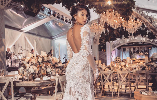 Eniko Parrish and her party Vera Wang wedding dress. Photo: Instagram