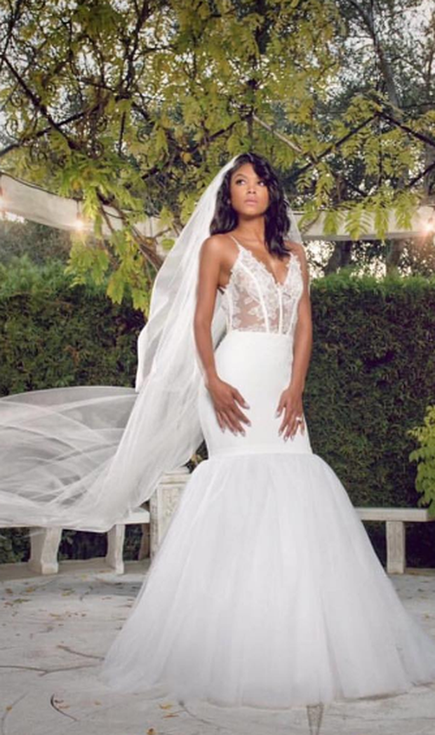 Eniko Parrish in the Vera Wang design she wore to walk down the aisle. Photo: Instagram