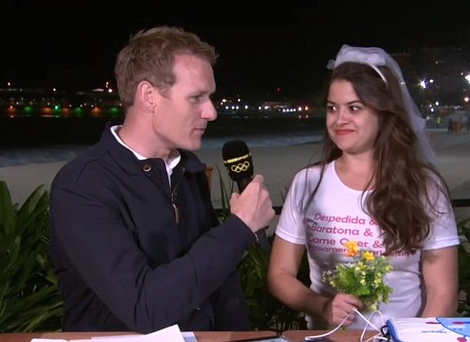 A hen party hilariously interrupted BBC's Olympic coverage. Photo: BBC Four.