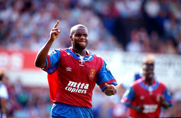 Aston Villa's Dalian Atkinson celebrates after scoring for Villa in 1992