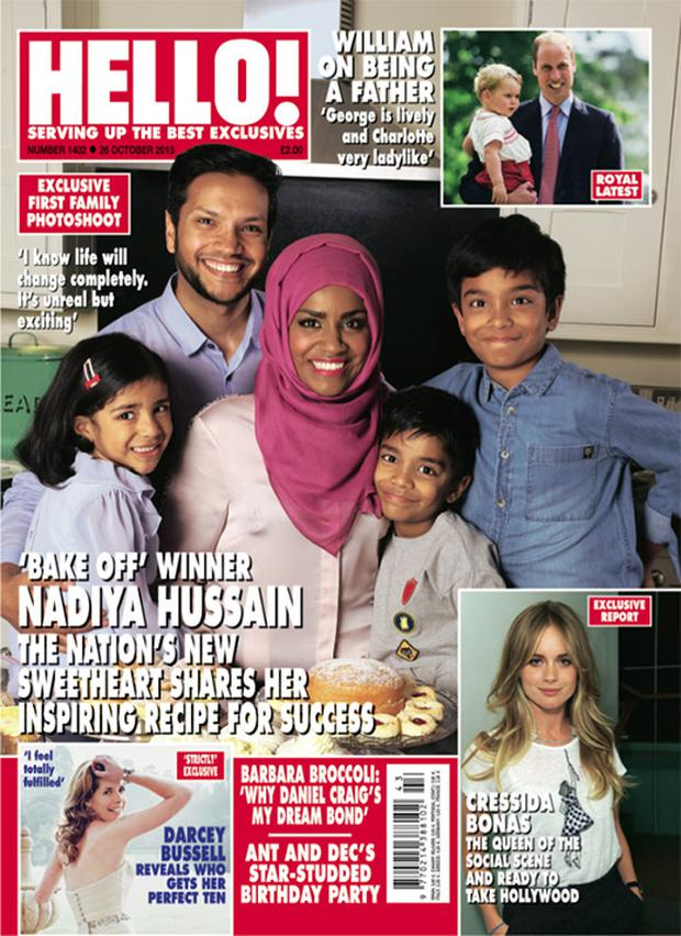 Nadiya Hussain and her family appeared on the cover of Hello!