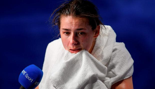 Katie Taylor of Ireland is interviewed after her defeat to Mira Potkonen of Finland in their Lightweight quarter-final bout in the Riocentro Pavillion 6 Arena, Barra da Tijuca, during the 2016 Rio Summer Olympic Games in Rio de Janeiro, Brazil. Photo by Ramsey Cardy/Sportsfile