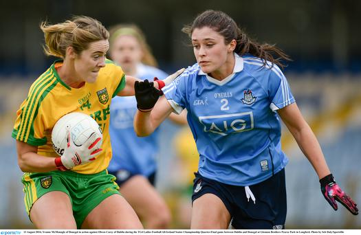 13 August 2016; Yvonne McMonagle of Donegal in action against Olwen Carey of Dublin during the TG4 Ladies Football All-Ireland Senior Championship Quarter-Final game between Dublin and Donegal at Glennon Brothers Pearse Park in Longford. Photo by Seb Daly/Sportsfile