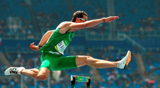Thomas Barr of Ireland in action during round 1 of the Men's 400m Hurdles in the Olympic Stadium during the 2016 Rio Summer Olympic Games in Rio de Janeiro, Brazil. Photo by Brendan Moran/Sportsfile
