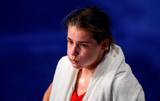 Katie Taylor of Ireland reacts after her defeat to Mira Potkonen of Finland in their Lightweight quarter-final bout in the Riocentro Pavillion 6 Arena, Barra da Tijuca, during the 2016 Rio Summer Olympic Games in Rio de Janeiro, Brazil. Photo by Ramsey Cardy/Sportsfile