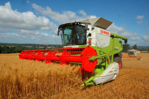 Larry O Reilly from Ballyragget, Co KIlkenny cutting oats last week. The spring oats yield was 3.1 tonnes per acre. Photo Roger Jones.