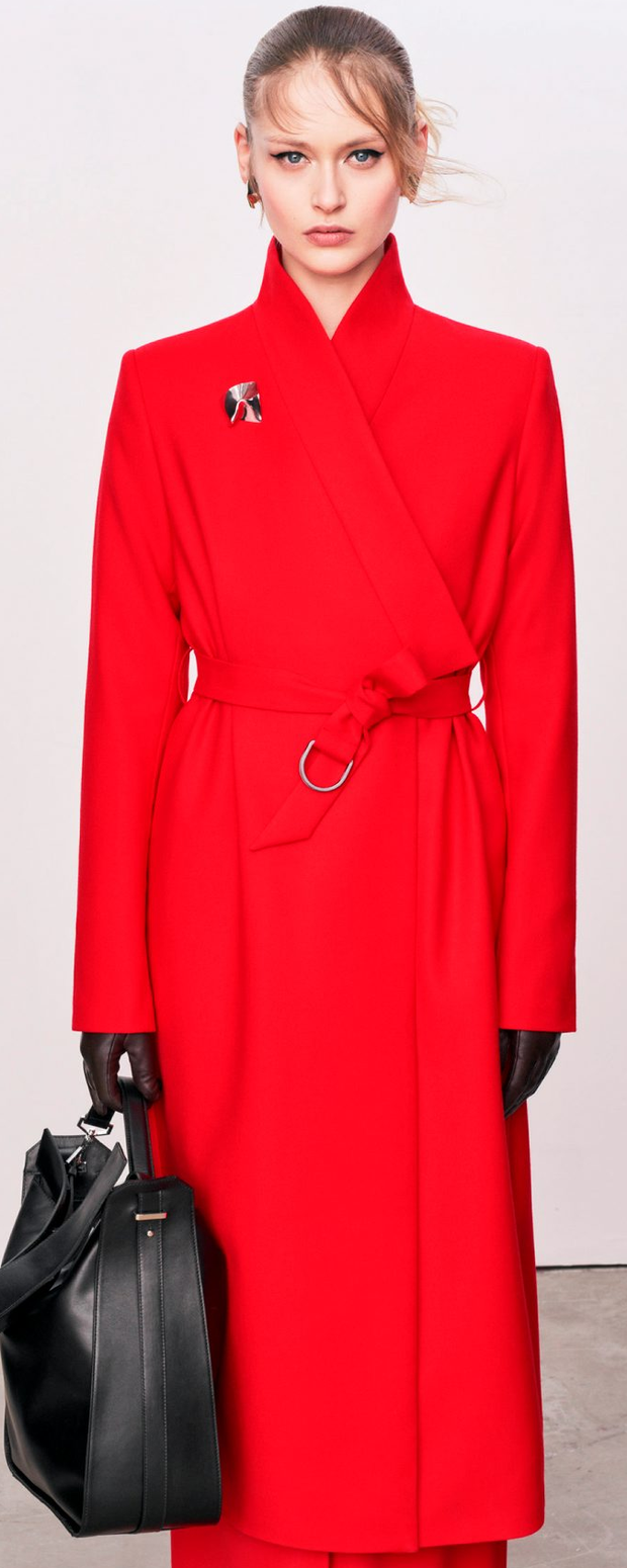 Red coat €195, bag €175