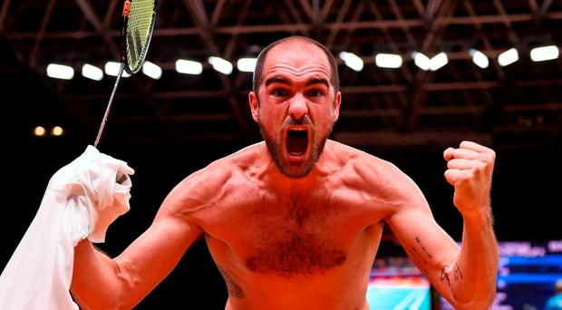 Scott Evans of Ireland celebrates his victory during the Men's Singles Group Play Stage match between Scott Evans and Ygor Coelho de Oliveira at Riocentro Pavillion 4 Arena during the 2016 Rio Summer Olympic Games in Rio de Janeiro, Brazil. Photo by Stephen McCarthy/Sportsfile